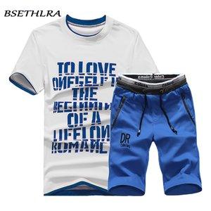 BSETHLRA 2019 Marca Nuevos Hombres Conjuntos de Camiseta de Verano Venta Caliente de Algodón Cómodo Camiseta de Manga Corta Homme Conjunto Casual Hombre Tamaño D03