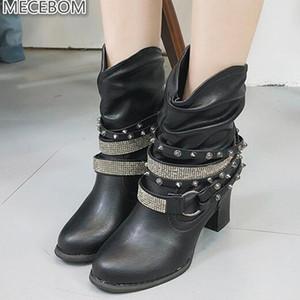 Sıcak Satış-Mecebom 2248w Deri Casual takozlar Kadın Ayakkabı Kış Kısa Kar Boots Platformu Süet Kadın Siyah Perçin Sapato Feminino Botaş