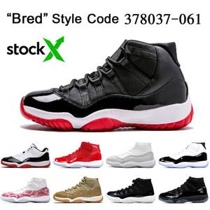 2019 Bred 11s Nike Air Jordan Retro 11 11s OFF White Jumpman Scarpe da basket da uomo di alta qualità da donna Sneakers sportive color grigio metallizzato argento
