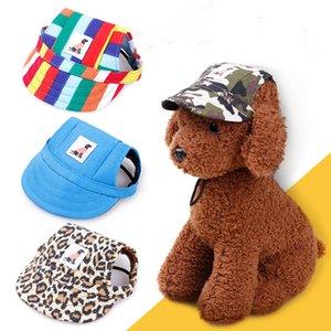 Собака шляпы многоцветные Пэт бейсболка щенок Спорт шляпа открытый Sunbonnet крышка с отверстиями для ушей и регулируемый шейный ремень для собаки
