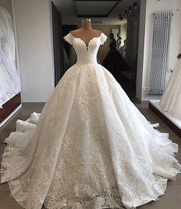 Vestido de fiesta de encaje con lentejuelas vintage fuera del hombro Vestidos de novia Vestidos de novia de lujo Tallas grandes Arabia Saudita Vestido de novia árabe personalizado