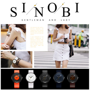 2021 Sinobi Fashion Watch Women Big Dial New Creative Eddy Design Strap de cuero de alta calidad Relojes blancos Relojes casuales Para Mujer