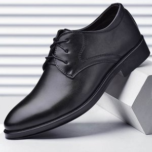 2019 new men's leather shoes business formal men's shoes lace up wild casual shoes size37-38