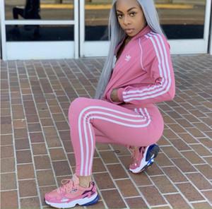 Yeni Avrupa ve Amerikan moda tasarımcısı kadın giyim iki parçalı nefes eğlence takım elbise spor hırka uzun kollu pantolon örme