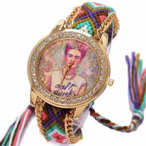 Радуга Женева Часы Женщины винтаж хиппи Мексиканский Горный Хрусталь Стиль циферблат Девушка Модные наручные часы Кружева Цепочка Косы Reloj