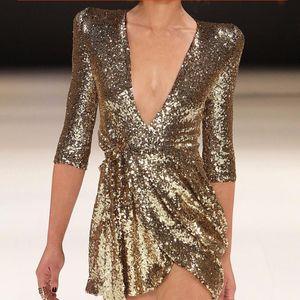Mini vestido con la correa de cintura alta del club de lentejuelas profundo cuello en V Mujeres Vestidos Mujer Primavera Verano 2020 Negro Ropa Sexy Lady