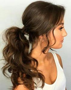 At Kuyruğu Uzatma İnsan Saç% 100 Gerçek Remy Hair - Saç Uzantıları Uzun Dalgalı 16 İnç at kuyruğu Clip Around the Wrap - 2. Koyu Kahverengi 120g