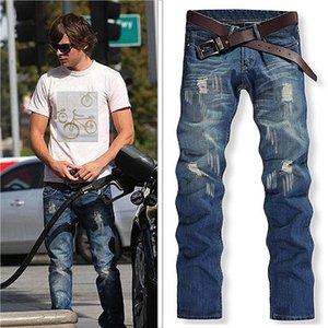 Men's Jeans 2021 Autumn And Winter Cross-border Foreign Trade Korean Version Of The Hole Tide Denim Wear White Nostalgic Light Blue Trousers