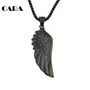 Fashion Single Angle Wing Collier Pendentif hip hop Collier Peinture Noire en Acier Inoxydable 316L plume Angle aile pour hommes CAGF0044