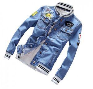 Spring Autumn Mens Denim Jacket Mens Trendy Fashion Bomber Thin Ripped Denim Jacket Male Cowboy Jeans jackets men jeans jackets and coats