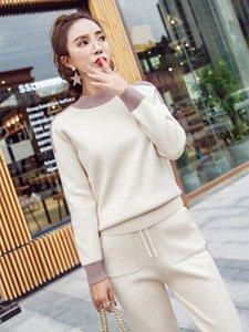 Frauen Winter Woolen Und Kaschmir Muster Gestrickte Warme Anzug Oansatz Pullover + Hosen Trainingsanzug Zweiteiler Weibliche Sportliche Anzüge