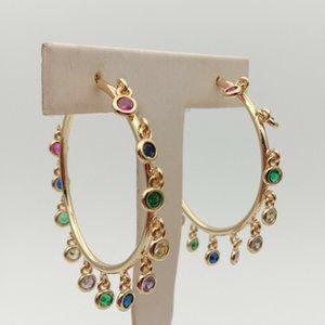 rainbow cz charm Earrings Jewelry Gold Color circle hoop Chandelier Earrings CX200606