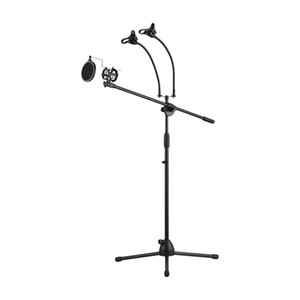Microphone Stand Adjustable Tripod MIC Holder Height with Boom Arm 3 Mic Holders & 3 Smartphone Holder for Live Streaming