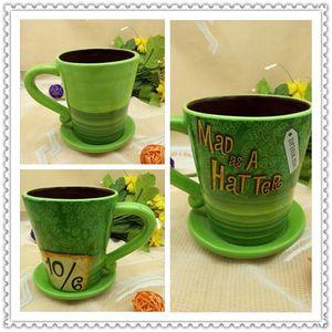 Regalo di compleanno della tazza di tazza di caffè di ceramica del cappello verde pazzo verde Alice nel paese delle meraviglie