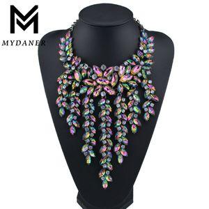 Luxe Multilayer Déclaration Maxi Collier Big magnifique pendentif en cristal Collier ras du cou Femmes Collares Largos Bijoux Fashion J190713