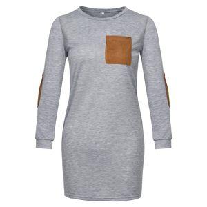 Мода Простой стиль лета женщин вскользь Сыпучие футболка платье с длинным рукавом O-образным вырезом Pure Color дамы Элегантные прямые платья M-XL