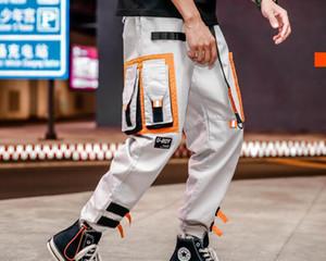 Multi bolsos de carga harém basculador calças dos homens hip hop moda casual track calças streetwear harajuku hipster sweatpants