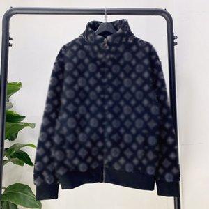 19FW Jacquard-Monogramm-Fleece-Jacke Vollwintermäntel Straße Oberbekleidung der neuen Art-Zipper Cotton Jacken Outdoor HFYMJK288