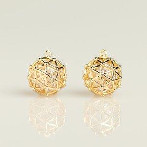 10PC 14K gold plated fashion necklace bracelet Anklet diy round cage rhinstone gold pendant 1 lot 01002