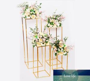 casamento do ouro decoração 4pcs conjunto de ferro geométrica estação chumbo estrada adereços colocados T suprimentos retângulo plinto casamento
