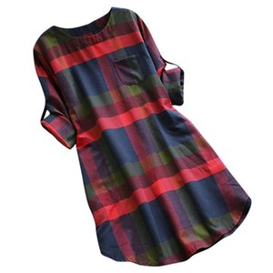 Fahsion Women Dress ELegant Women Ladies Plaid Long Sleeve Loose Pocket Swing Vintage Dress Female Vestidos Drop Shipping