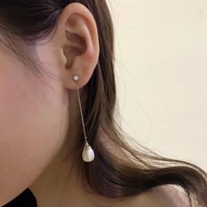 Мода кисточкой пресноводные жемчужные серьги Single CZ камень кристалл падение алмаз серьги для женщин Natural Двойной жемчужной сережкой фантазии ювелирных изделий