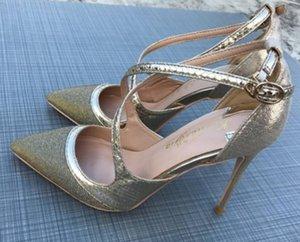 Lentejuelas de oro Crossbanding Zapatos de tacón alto de las mujeres Cusp Fine Heel Solite Sandals Sandalias 10cm Big Code 44 NightClub 2019 Zapatos de abajo rojos