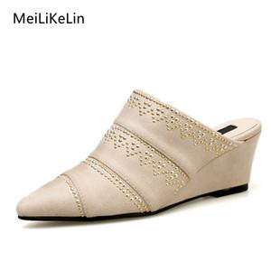 MeiLiKeLin New Femme Femmes Wedges Chaussons Mules Chaussures Pointu talon haut Rivet Dot Femmes Chaussons Printemps Automne Wedge Chaussures