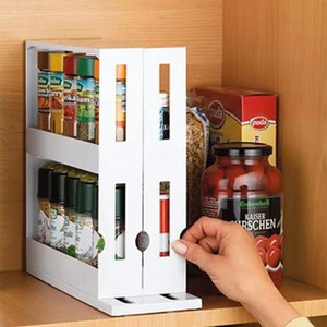 Kitchen Spice Organizer Rack Multi-Function Rotating Storage Shelf Slide Kitchen Cabinet Cupboard Organizer Kitchen Storage Rack Y200429
