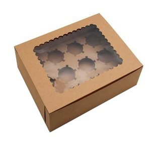 10Pcs Cupcake Box with Window Kraft Paper Boxes Dessert Mousse Box 12 Cup Cake Holders