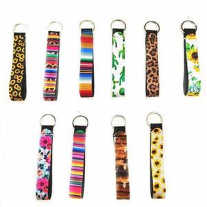 fashion Neoprene Key Ring Wristlet Keychain Colourful Printed Key Rings Sunflower Leopard Rainbow Printing Keychain Wristlet T2I5989