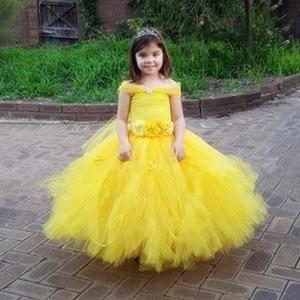 Tutu Dress Girls Tulle Party Wedding Flower Girl Dresses Yellow Kids Halloween Beauty Beast Cosplay Dress Costume