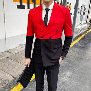 Mens Suits With Pants Spring New Black And White Stitching Suit Trend Double-breasted Slim Suit Two-piece British Style