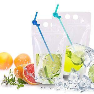 100шт прозрачный напиток мешки мешков матовый стенд-вверх мешок застежки-молнии пластичного мешка с соломой держатель с крышкой жаропрочное 17 унций ST454