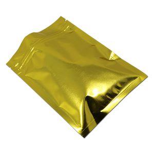 200Pcs / серия 10x15cm Resealable Golden Алюминиевая фольга Zip замок Упаковка Мешок майларовую фольги Ziplock упаковки мешочек для обновления продуктов питания