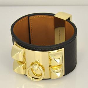 Luxus H Marke Armbänder Breite Vier Nieten Leder Armbänder Frauen Männer Gold Silber CDC Punk Breite 3,8 cm Armband Edlen Schmuck
