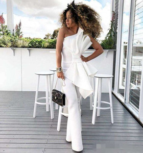 2019 Chic Vintage One Shoulder White Women Jumpsuit Prom Dresses With Big Bow Formal Party Evening Gowns Custom Made Special Occasion Dres