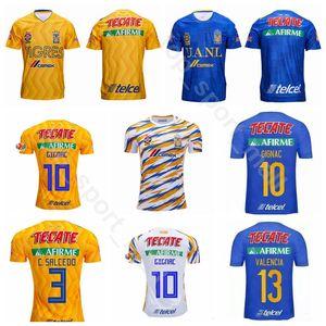2019 Tigres UANL Jersey Erkekler Futbol 9 VARGAS 10 GIGNAC 19 PIZARRO 5 CARIOCA 20 AQUINO 28 RODRIGUEZ Futbol Gömlek Kitleri Üniforma
