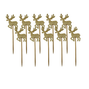 10 Pieces Reindeer Shape Birthday Cake Cake Topper Flags for Cake Decoraton DIY Craft