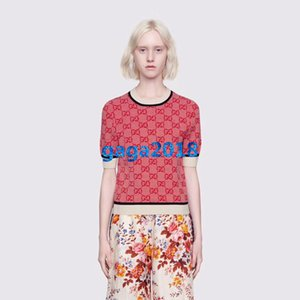 женщины девушки шерсть вязать топ блокировки письмо мотив crewneck свитер с коротким рукавом блузка трикотажные тройник футболка высокого класса моды роскошное платье