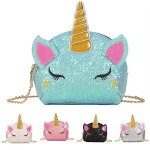 반짝이 유니콘 체인 가방 어린이 만화 크로스 바디 어깨 가방 아기 소녀 패니 팩 허리 가방 귀여운 동전 지갑 INS 지갑 전화 파우치 선물