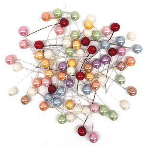 50 pcs Mini Bagas de Frutas Frutadas De Plástico Pequeno Artificial Pérola Estames Flor Cereja Caixa de Presente de Casamento Decorado DIY Coroas de Flores de Natal