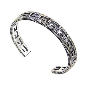 2020 new titanium steel jewelry openwork design opening men Bangles lovers square G-shaped Arabic engraved design Bracelet