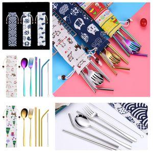 un nuevo 7 piezas de vajilla herramientas portátiles de paja Conjunto de Corea del Juego de cubiertos de acero inoxidable del vajilla de cocina con un paño bolsa T2I5219