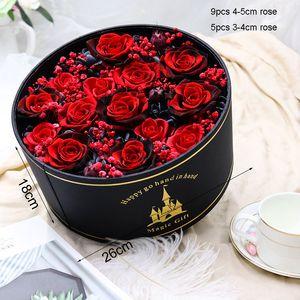 Sevgililer Günü Hediye Yüksek Kalite Düğün Dekorasyon Çiçek Kurutulmuş Gül Çiçek In Hediye Kutusu Preserved