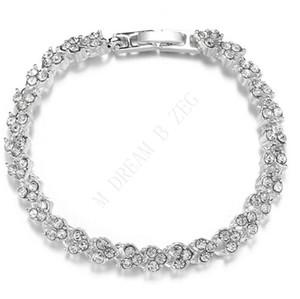 Fashion women heart roman bracelet clear zircon crystal bangle rhinestone bracelet fashion accessories diamond encrusted jewelry