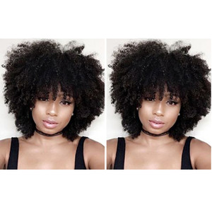 new style short cut kinky curly wig brazilian Hair African Americ Simulation Human Hair kinky curly wig with bang