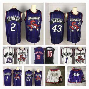Vintage Vince Carter 15 TorontoRaptors Pascal 43 Siakam Tracy McGrady 1 Kawhi Leonard 2 Kyle Lowry 7 VanVleet Basketball Maglie