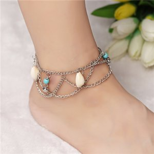 Original European and American jewelry Bohemian celebrity style shell bell wave tassel anklet