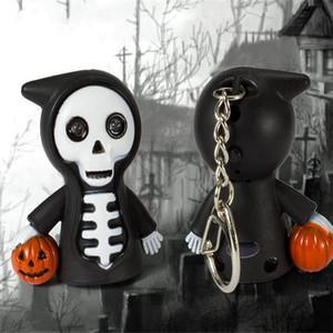 LED Halloween trousseau citrouille grimace squelette Key ring cartoon pendentif Halloween sinistre Reaper son lumineux Keychain T0105